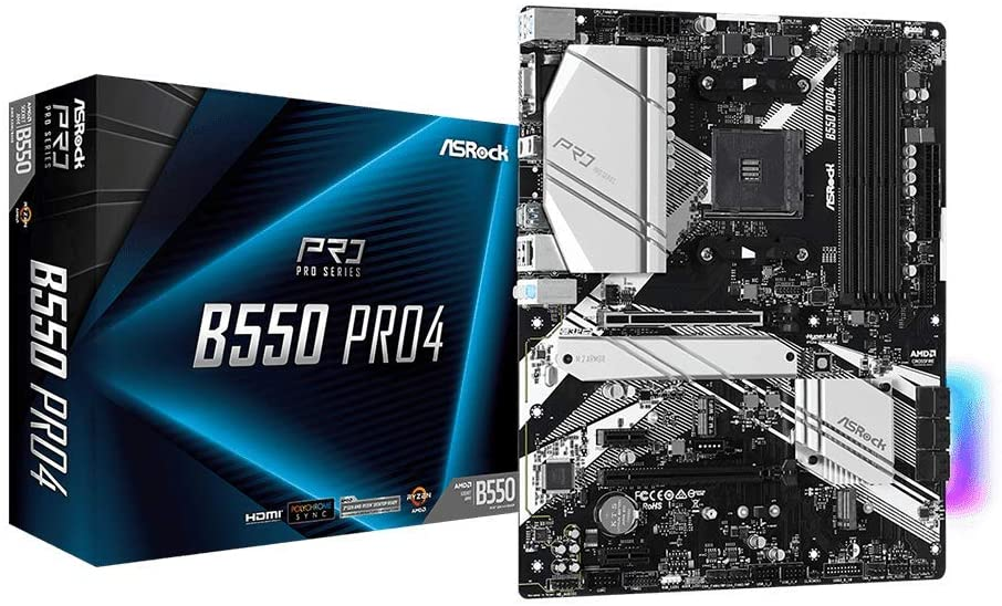 MAINBOARD SOCKET AM4 ASROCK B550 PRO4, 4XDDR4 4733MHZ, 6XSATA III, AUDIO 7.1, GIGABIT, ATX