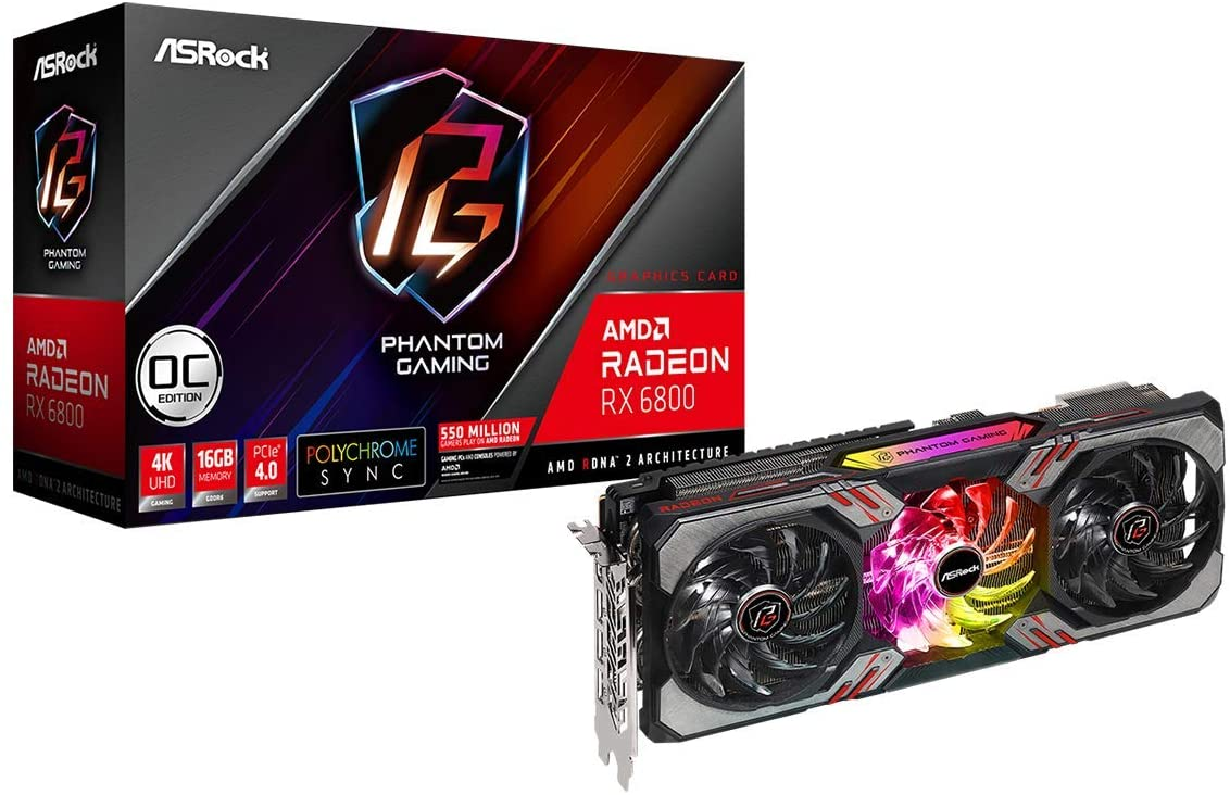 SCHEDA VIDEO PCI-EXPRESS ASROCK RX6800 PHANTOM GAMING D 16G OC, 16GB DI MEMORIA GDDR6, TRIPLE FAN, 3XDISPLAY PORT E 1XHDMI